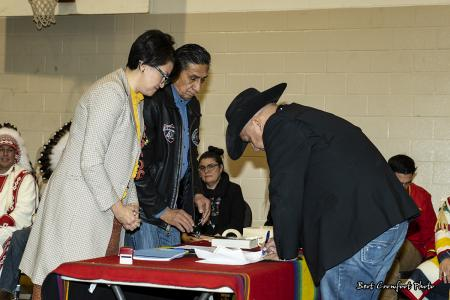 Councillor Armond Duck Chief signs official documents