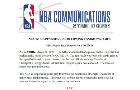 NBA Season Suspended