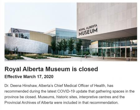 Royal Alberta Museum closed