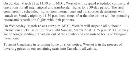 Westjet Notice March 16