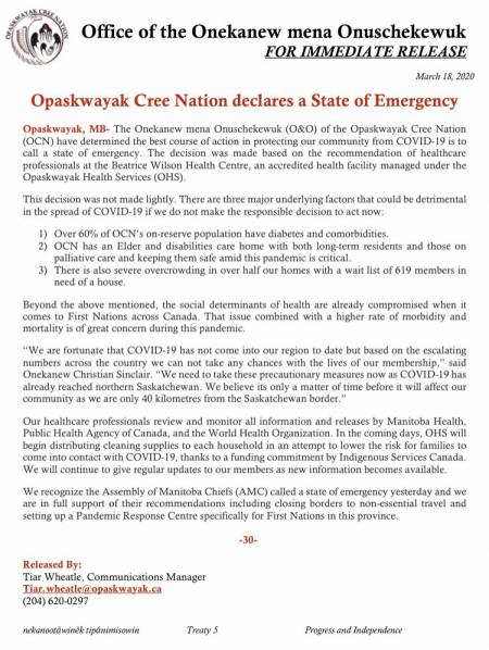 Opaskwayak Cree Nation declare state of emergency